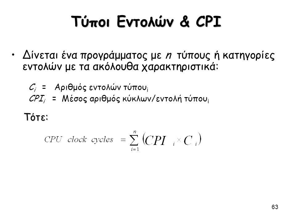 63 Τύποι Εντολών & CPI Δίνεται ένα προγράμματος με n τύπους ή κατηγορίες εντολών με τα ακόλουθα χαρακτηριστικά: C i = Αριθμός εντολών τύπου i CPI i =