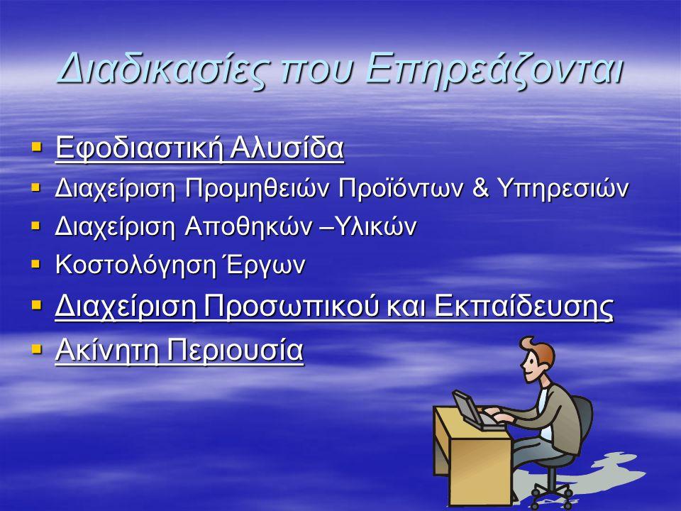 Διαδικασίες που Επηρεάζονται  Εφοδιαστική Αλυσίδα  Διαχείριση Προμηθειών Προϊόντων & Υπηρεσιών  Διαχείριση Προμηθειών Προϊόντων & Υπηρεσιών  Διαχε