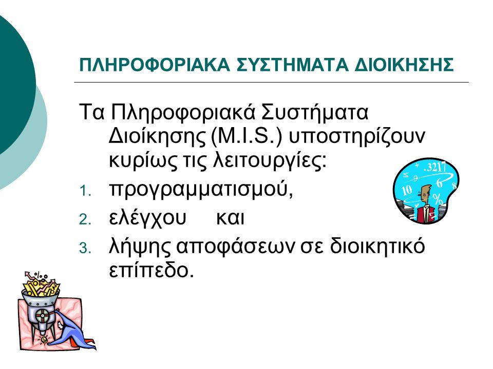 ΠΛΗΡΟΦΟΡΙΑΚΑ ΣΥΣΤΗΜΑΤΑ ΔΙΟΙΚΗΣΗΣ Τα Πληροφοριακά Συστήματα Διοίκησης (M.I.S.) υποστηρίζουν κυρίως τις λειτουργίες: 1. προγραμματισμού, 2. ελέγχου και