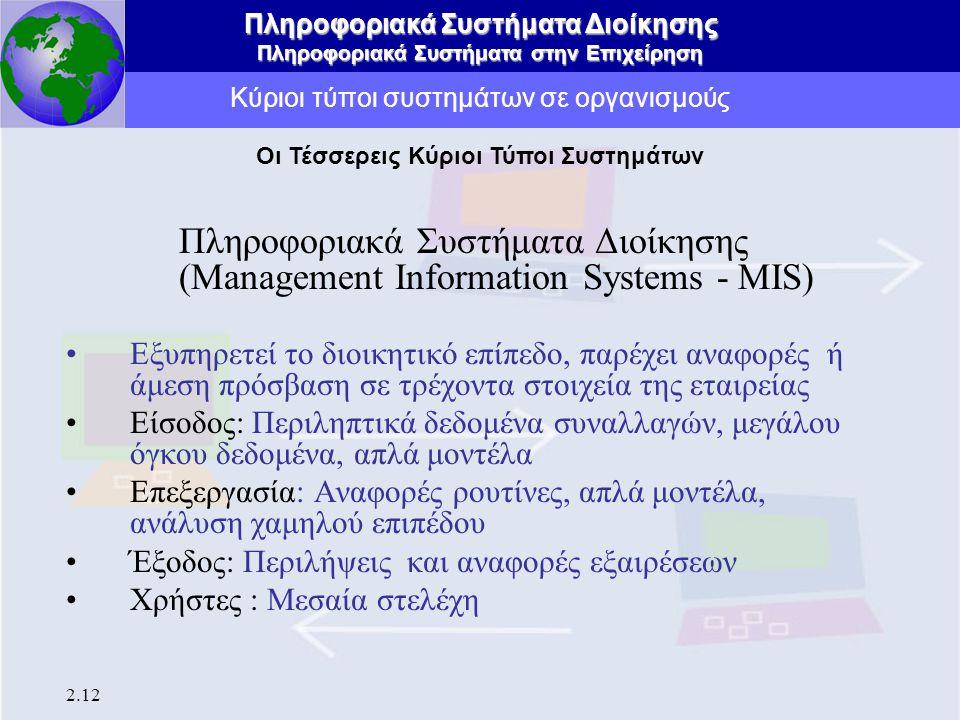 Πληροφοριακά Συστήματα Διοίκησης Πληροφοριακά Συστήματα στην Επιχείρηση 2.12 Κύριοι τύποι συστημάτων σε οργανισμούς Πληροφοριακά Συστήματα Διοίκησης (