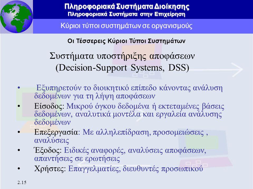 Πληροφοριακά Συστήματα Διοίκησης Πληροφοριακά Συστήματα στην Επιχείρηση 2.15 Κύριοι τύποι συστημάτων σε οργανισμούς Συστήματα υποστήριξης αποφάσεων (D