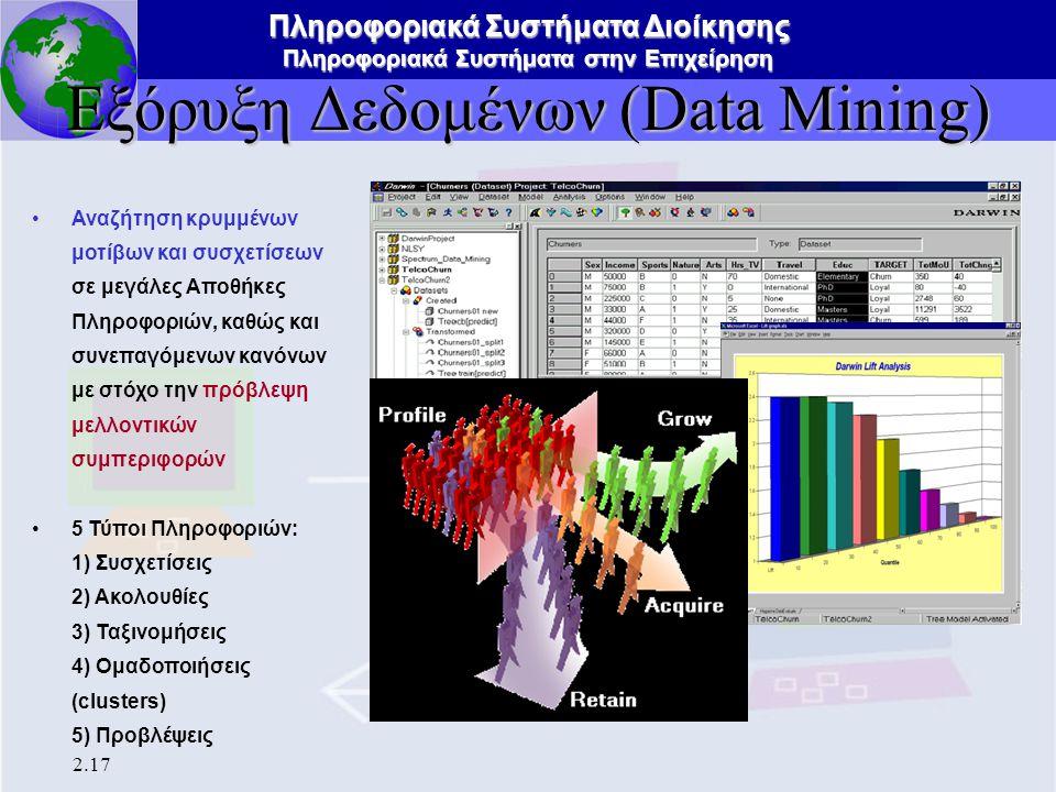 Πληροφοριακά Συστήματα Διοίκησης Πληροφοριακά Συστήματα στην Επιχείρηση 2.17 Εξόρυξη Δεδομένων (Data Mining) Αναζήτηση κρυμμένων μοτίβων και συσχετίσε