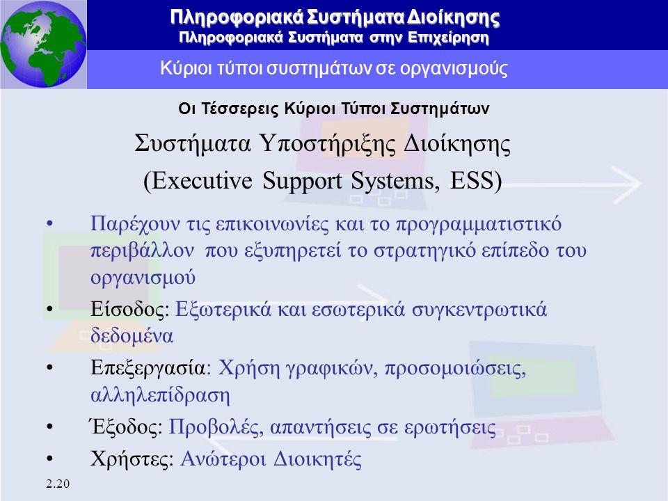 Πληροφοριακά Συστήματα Διοίκησης Πληροφοριακά Συστήματα στην Επιχείρηση 2.20 Κύριοι τύποι συστημάτων σε οργανισμούς Συστήματα Υποστήριξης Διοίκησης (E
