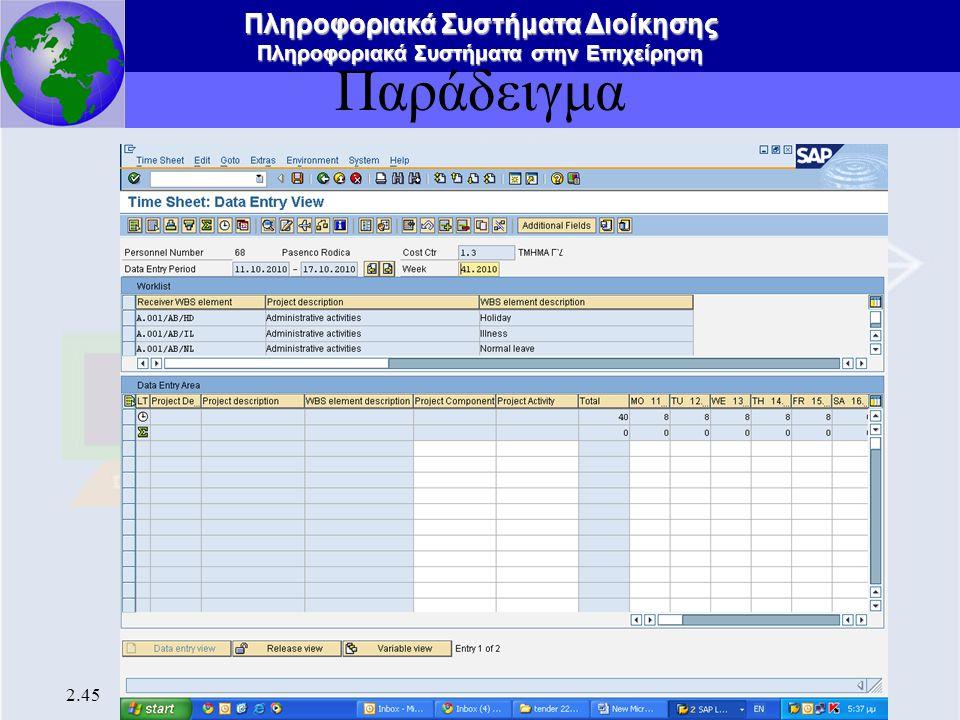 Πληροφοριακά Συστήματα Διοίκησης Πληροφοριακά Συστήματα στην Επιχείρηση 2.45 Παράδειγμα