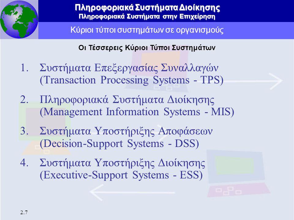 Πληροφοριακά Συστήματα Διοίκησης Πληροφοριακά Συστήματα στην Επιχείρηση 2.7 Κύριοι τύποι συστημάτων σε οργανισμούς 1.Συστήματα Επεξεργασίας Συναλλαγών