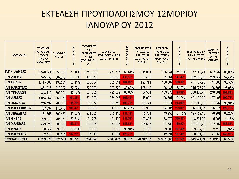 ΕΚΤΕΛΕΣΗ ΠΡΟΥΠΟΛΟΓΙΣΜΟΥ 12ΜΟΡΙΟΥ ΙΑΝΟΥΑΡΙΟΥ 2012 29