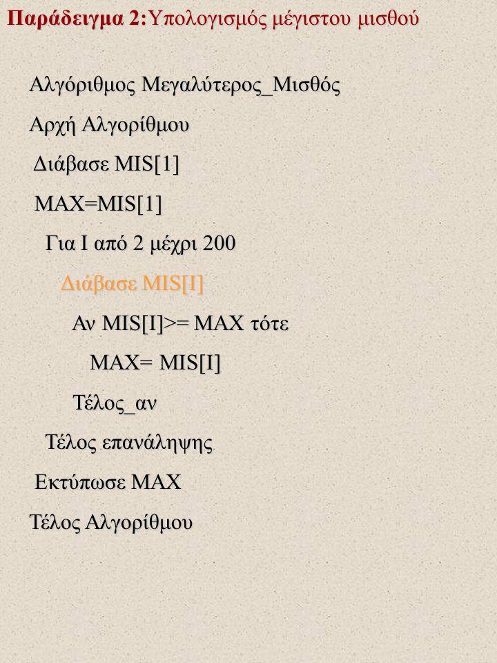 Παράδειγμα 2:Υπολογισμός μέγιστου μισθού Αλγόριθμος Μεγαλύτερος_Μισθός Αρχή Αλγορίθμου Διάβασε MIS[1] Διάβασε MIS[1] MAX=MIS[1] MAX=MIS[1] Για I από 2 μέχρι 200 Για I από 2 μέχρι 200 Διάβασε MIS[I] Διάβασε MIS[I] Αν MIS[I]>= MAX τότε Αν MIS[I]>= MAX τότε MAX= MIS[I] MAX= MIS[I] Τέλος_αν Τέλος_αν Τέλος επανάληψης Τέλος επανάληψης Εκτύπωσε MAX Εκτύπωσε MAX Τέλος Αλγορίθμου