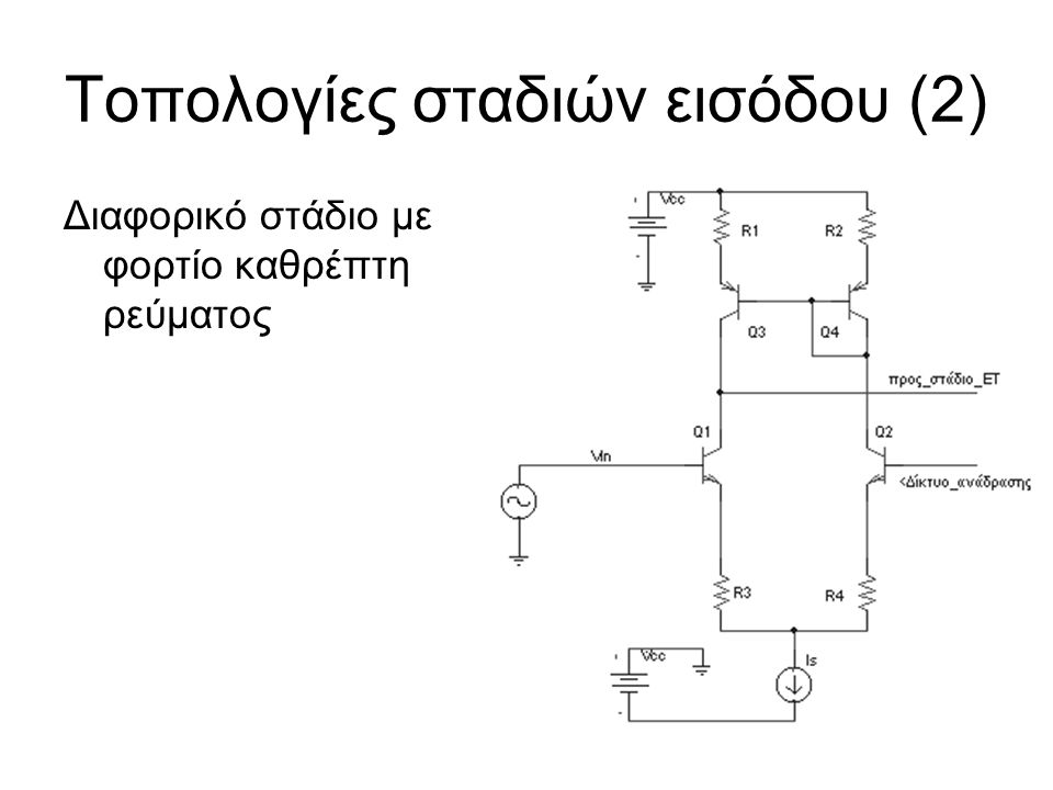 Τοπολογίες σταδιών εισόδου (2) Διαφορικό στάδιο με φορτίο καθρέπτη ρεύματος