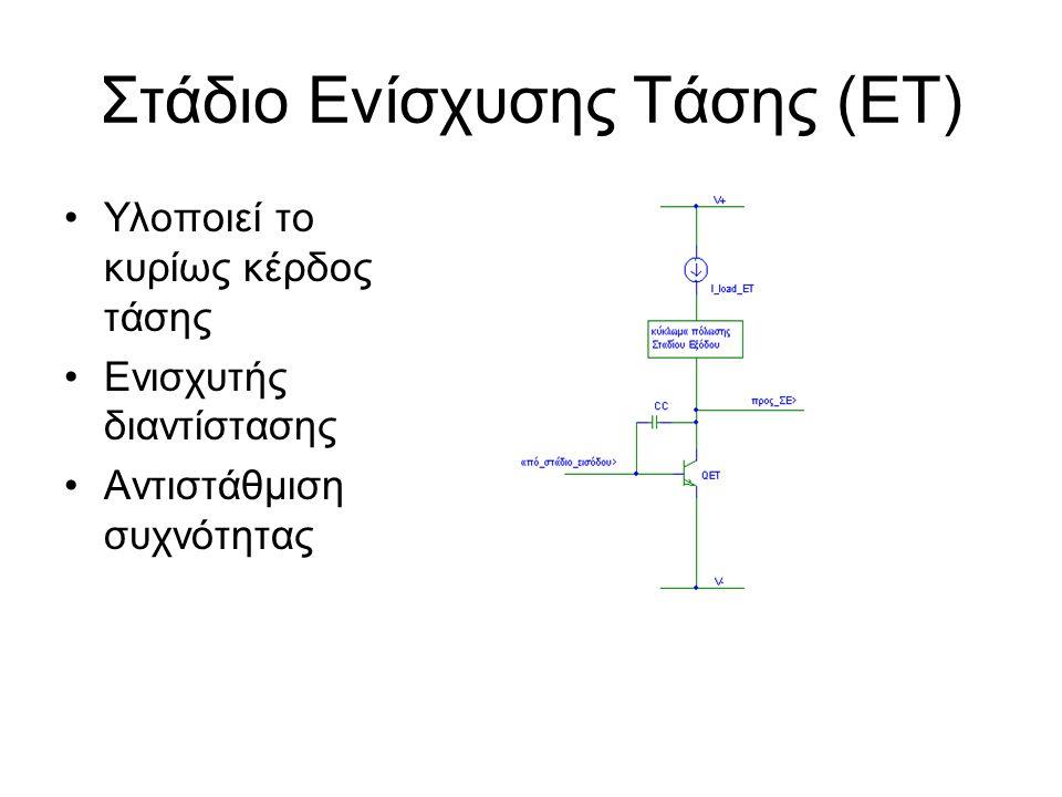 Στάδιο Ενίσχυσης Τάσης (ΕΤ) Υλοποιεί το κυρίως κέρδος τάσης Ενισχυτής διαντίστασης Αντιστάθμιση συχνότητας