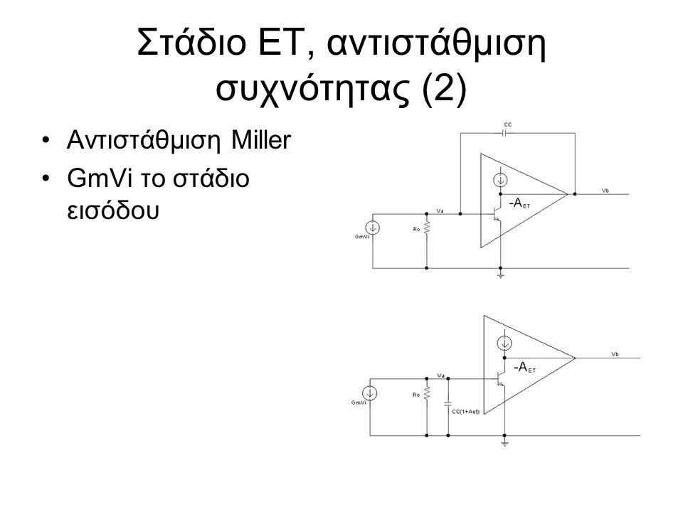 Στάδιο ΕΤ, αντιστάθμιση συχνότητας (2) Αντιστάθμιση Miller GmVi το στάδιο εισόδου