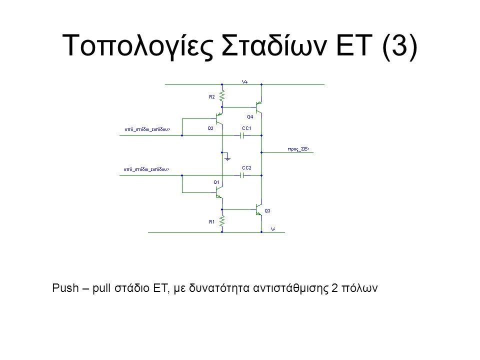 Τοπολογίες Σταδίων ΕΤ (3) Push – pull στάδιο ΕΤ, με δυνατότητα αντιστάθμισης 2 πόλων