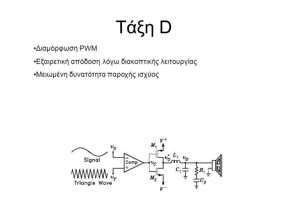 Τάξη D Διαμόρφωση PWM Εξαιρετική απόδοση λόγω διακοπτικής λειτουργίας Μειωμένη δυνατότητα παροχής ισχύος