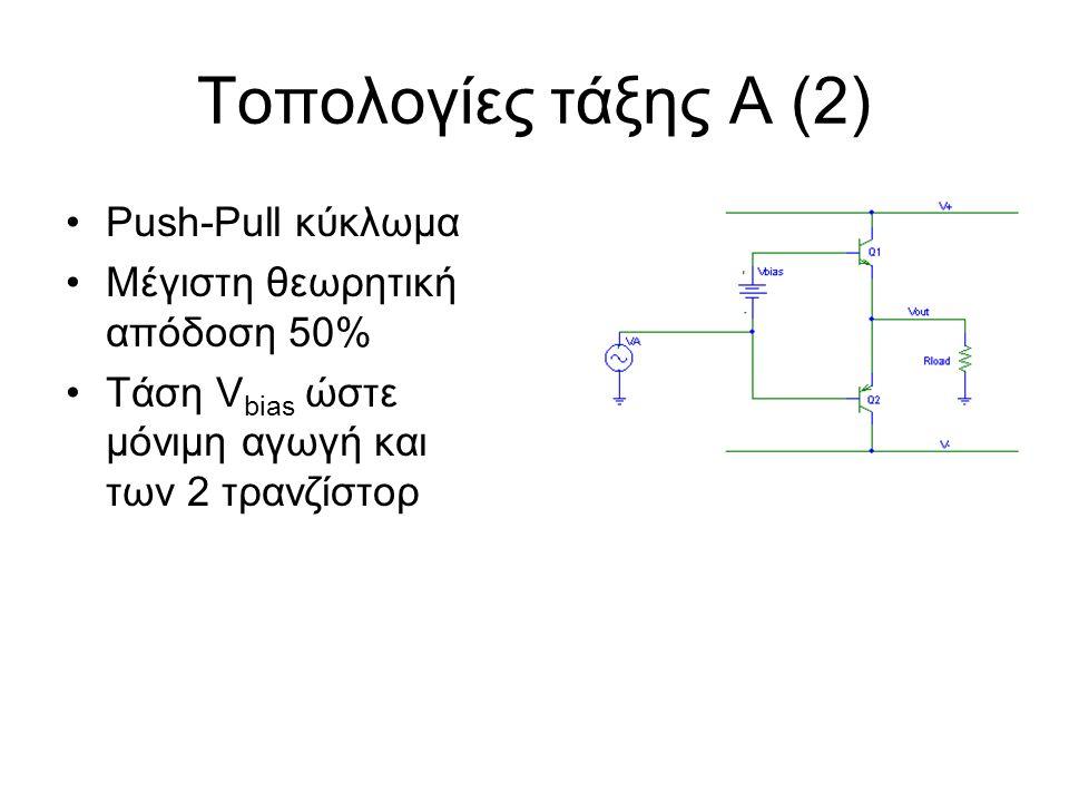 Τοπολογίες τάξης Α (2) Push-Pull κύκλωμα Μέγιστη θεωρητική απόδοση 50% Τάση V bias ώστε μόνιμη αγωγή και των 2 τρανζίστορ