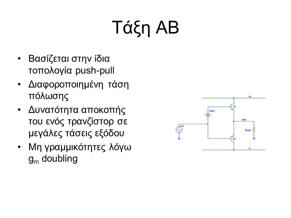 Τάξη ΑΒ Βασίζεται στην ίδια τοπολογία push-pull Διαφοροποιημένη τάση πόλωσης Δυνατότητα αποκοπής του ενός τρανζίστορ σε μεγάλες τάσεις εξόδου Μη γραμμ