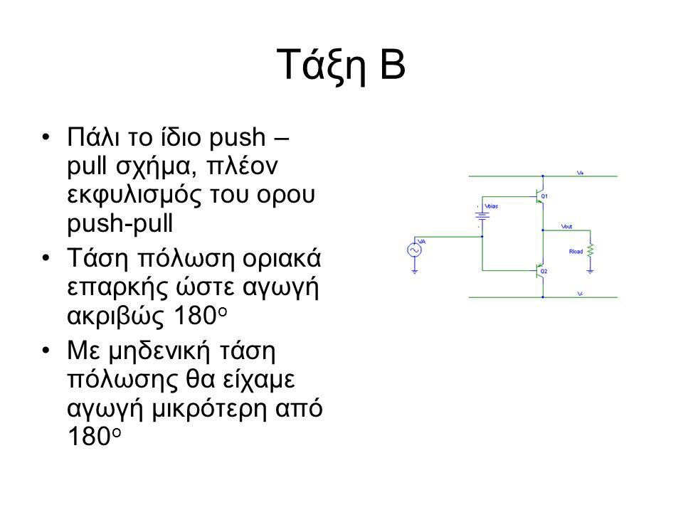 Τάξη Β Πάλι το ίδιο push – pull σχήμα, πλέον εκφυλισμός του ορου push-pull Τάση πόλωση οριακά επαρκής ώστε αγωγή ακριβώς 180 ο Με μηδενική τάση πόλωση
