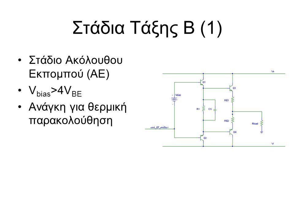 Στάδια Τάξης Β (1) Στάδιο Ακόλουθου Εκπομπού (ΑΕ) V bias >4V BE Ανάγκη για θερμική παρακολούθηση