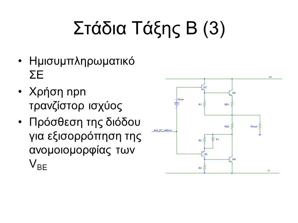 Στάδια Τάξης Β (3) Ημισυμπληρωματικό ΣΕ Χρήση npn τρανζίστορ ισχύος Πρόσθεση της διόδου για εξισορρόπηση της ανομοιομορφίας των V BE