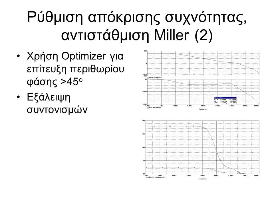 Ρύθμιση απόκρισης συχνότητας, αντιστάθμιση Miller (2) Χρήση Optimizer για επίτευξη περιθωρίου φάσης >45 ο Εξάλειψη συντονισμών