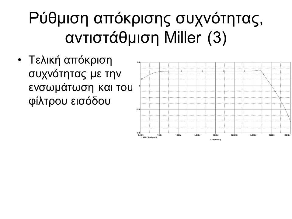 Ρύθμιση απόκρισης συχνότητας, αντιστάθμιση Miller (3) Τελική απόκριση συχνότητας με την ενσωμάτωση και του φίλτρου εισόδου