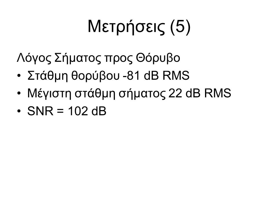 Μετρήσεις (5) Λόγος Σήματος προς Θόρυβο Στάθμη θορύβου -81 dB RMS Μέγιστη στάθμη σήματος 22 dB RMS SNR = 102 dB