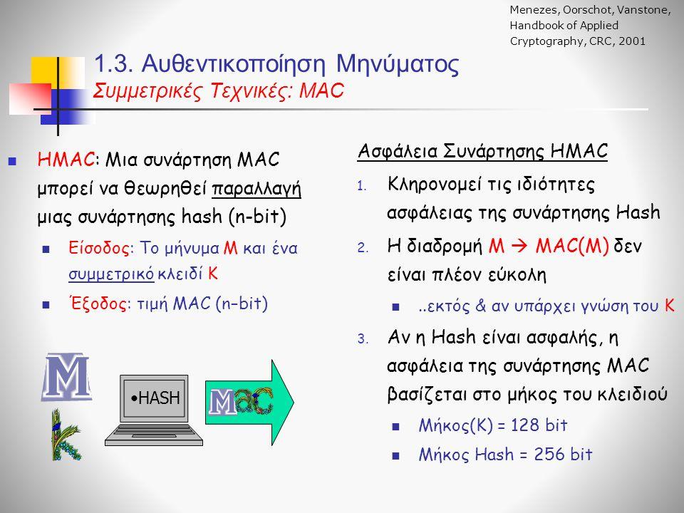 1.3. Αυθεντικοποίηση Μηνύματος Συμμετρικές Τεχνικές: ΜΑC ΗΜΑC: Μια συνάρτηση MAC μπορεί να θεωρηθεί παραλλαγή μιας συνάρτησης hash (n-bit) Είσοδος: Το