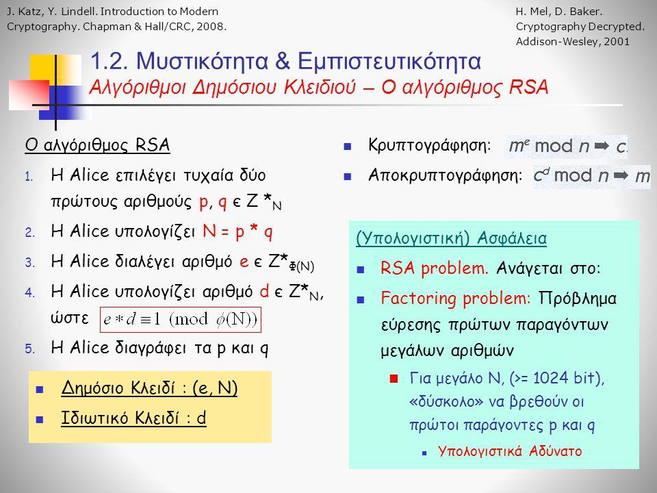 Ο αλγόριθμος RSA 1. H Alice επιλέγει τυχαία δύο πρώτους αριθμούς p, q є Ζ * Ν 2.