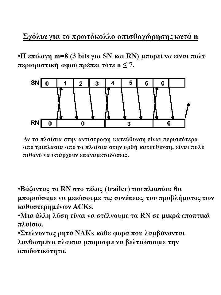 Σχόλια για το πρωτόκολλο οπισθοχώρησης κατά n Η επιλογή m=8 (3 bits για SN και RN) μπορεί να είναι πολύ περιοριστική αφού πρέπει τότε n ≤ 7. Bάζοντας