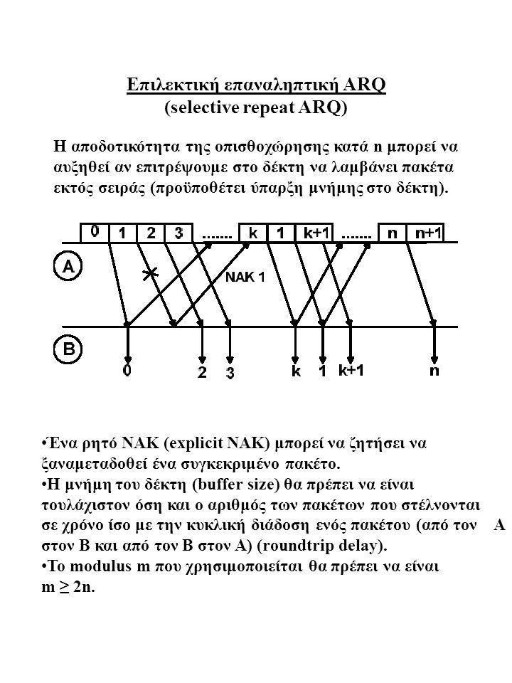 Επιλεκτική επαναληπτική ARQ (selective repeat ARQ) H αποδοτικότητα της οπισθοχώρησης κατά n μπορεί να αυξηθεί αν επιτρέψουμε στο δέκτη να λαμβάνει πακ