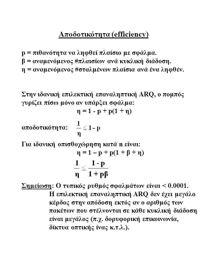 Αποδοτικότητα (efficiency) p = πιθανότητα να ληφθεί πλαίσιο με σφάλμα. β = αναμενόμενος #πλαισίων ανά κυκλική διάδοση. η = αναμενόμενος #σταλμένων πλα