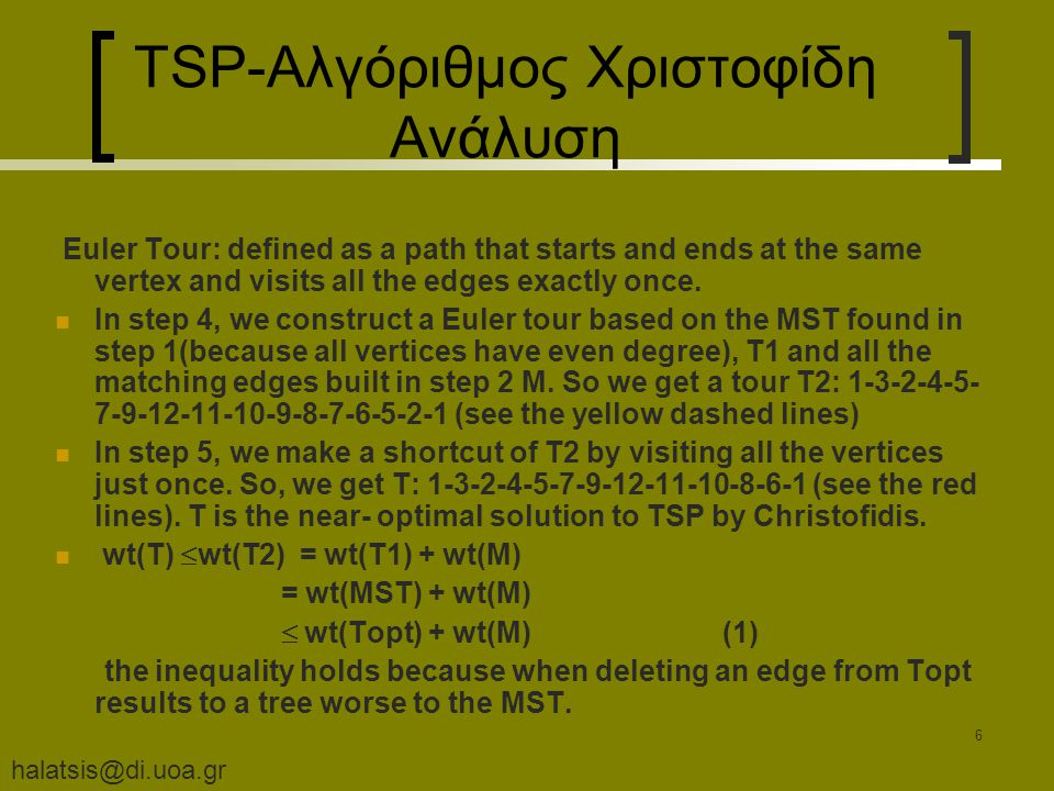 halatsis@di.uoa.gr 7 Κύκλος TSP-Αλγόριθμος Χριστοφίδη Ανάλυση Now, we prove wt(M)  ½ wt(Topt).