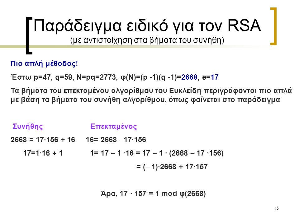 15 Παράδειγμα ειδικό για τον RSA (με αντιστοίχηση στα βήματα του συνήθη) Πιο απλή μέθοδος! Έστω p=47, q=59, N=pq=2773, φ(Ν)=(p -1)(q -1)=2668, e=17 Τα