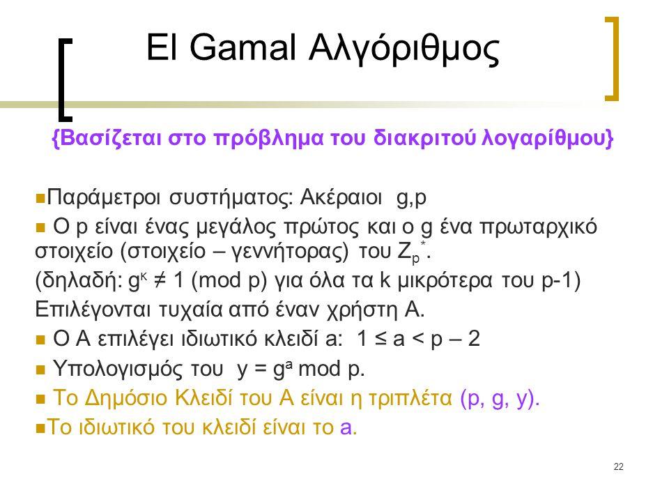 22 El Gamal Αλγόριθμος {Βασίζεται στο πρόβλημα του διακριτού λογαρίθμου} Παράμετροι συστήματος: Ακέραιοι g,p Ο p είναι ένας μεγάλος πρώτος και ο g ένα