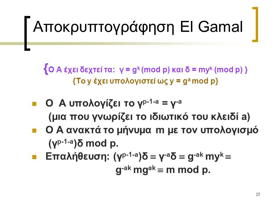 25 Αποκρυπτογράφηση El Gamal { Ο Α έχει δεχτεί τα: γ = g k (mod p) και δ = my k (mod p) } {Το y έχει υπολογιστεί ως y = g a mod p} O A υπολογίζει το γ