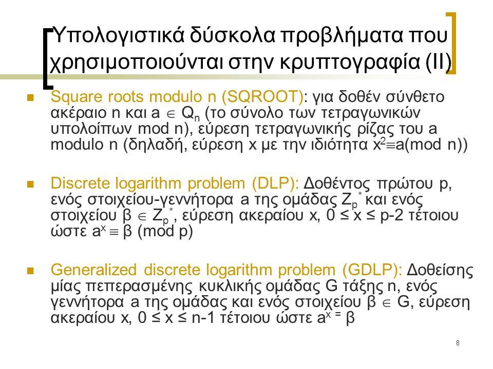 8 Υπολογιστικά δύσκολα προβλήματα που χρησιμοποιούνται στην κρυπτογραφία (II) Square roots modulo n (SQROOT): για δοθέν σύνθετο ακέραιο n και a  Q n