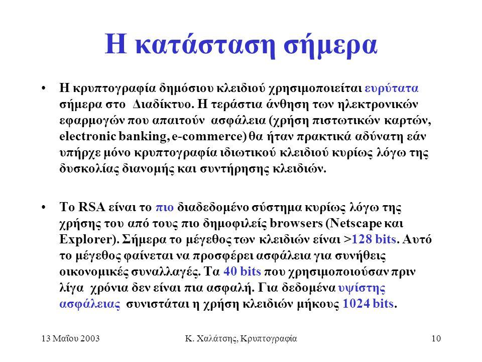 13 Μαΐου 2003Κ. Χαλάτσης, Κρυπτογραφία10 Η κατάσταση σήμερα H κρυπτογραφία δημόσιου κλειδιού χρησιμοποιείται ευρύτατα σήμερα στο Διαδίκτυο. Η τεράστια