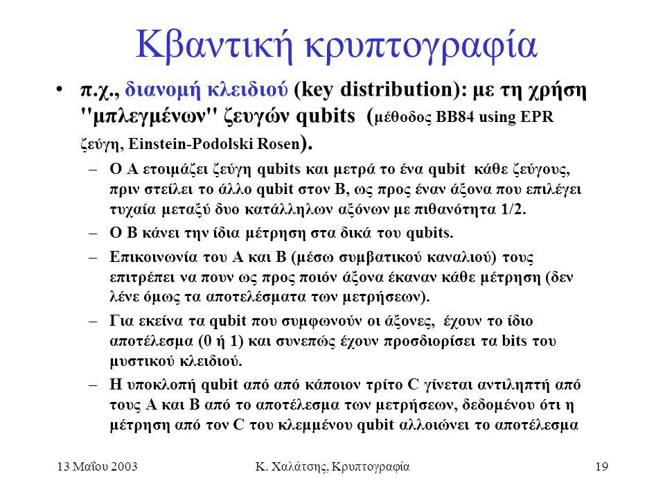 13 Μαΐου 2003Κ. Χαλάτσης, Κρυπτογραφία19 Κβαντική κρυπτογραφία π.χ., διανομή κλειδιού (key distribution): με τη χρήση ''μπλεγμένων'' ζευγών qubits ( μ