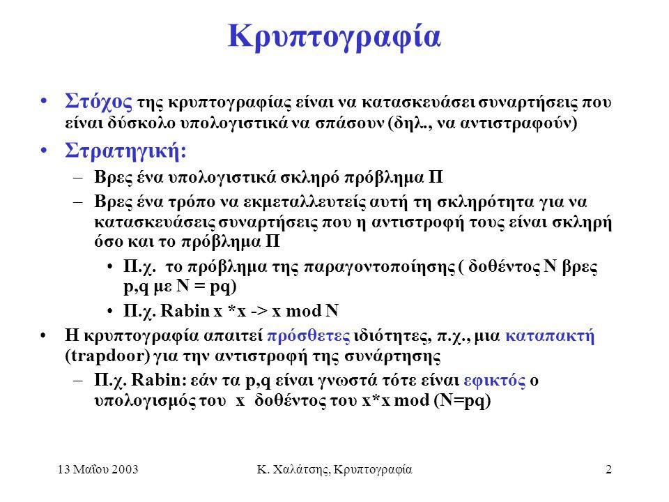 13 Μαΐου 2003Κ. Χαλάτσης, Κρυπτογραφία2 Κρυπτογραφία Στόχος της κρυπτογραφίας είναι να κατασκευάσει συναρτήσεις που είναι δύσκολο υπολογιστικά να σπάσ