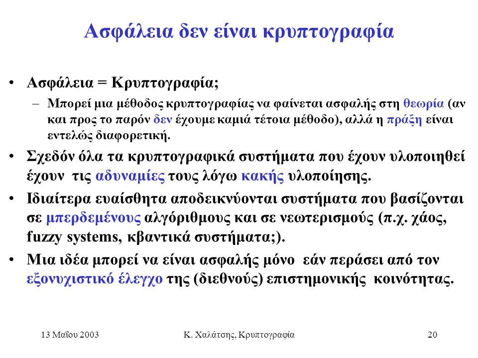 13 Μαΐου 2003Κ. Χαλάτσης, Κρυπτογραφία20 Ασφάλεια δεν είναι κρυπτογραφία Ασφάλεια = Κρυπτογραφία; –Μπορεί μια μέθοδος κρυπτογραφίας να φαίνεται ασφαλή