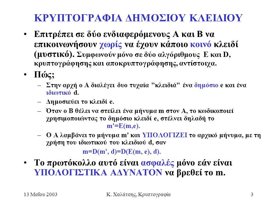 13 Μαΐου 2003Κ. Χαλάτσης, Κρυπτογραφία3 ΚΡΥΠΤΟΓΡΑΦΙΑ ΔΗΜΟΣΙΟΥ ΚΛΕΙΔΙΟΥ Επιτρέπει σε δύο ενδιαφερόμενους Α και Β να επικοινωνήσουν χωρίς να έχουν κάποι