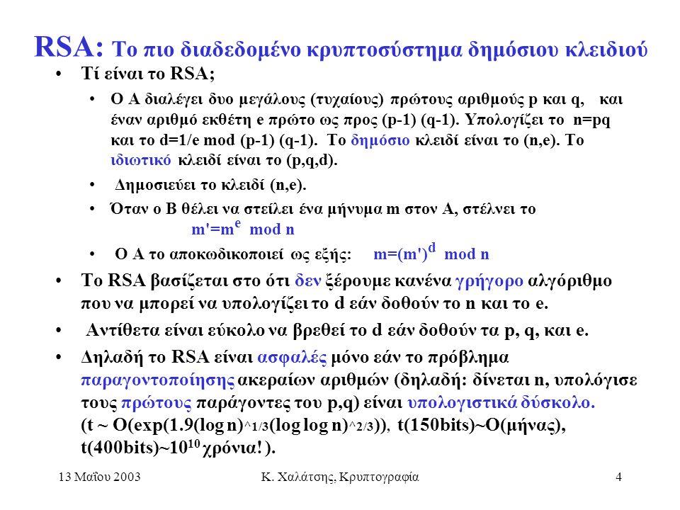 13 Μαΐου 2003Κ. Χαλάτσης, Κρυπτογραφία4 RSA: Το πιο διαδεδομένο κρυπτοσύστημα δημόσιου κλειδιού Τί είναι το RSA; Ο Α διαλέγει δυο μεγάλους (τυχαίους)