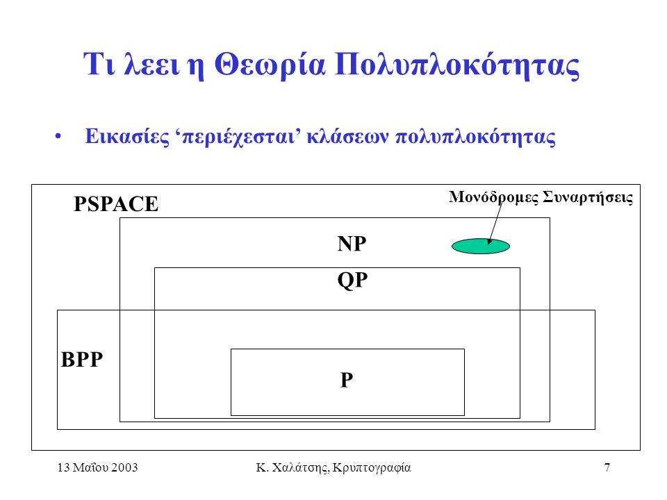 13 Μαΐου 2003Κ. Χαλάτσης, Κρυπτογραφία7 Τι λεει η Θεωρία Πολυπλοκότητας BPP P QP NP Εικασίες 'περιέχεσται' κλάσεων πολυπλοκότητας Μονόδρομες Συναρτήσε