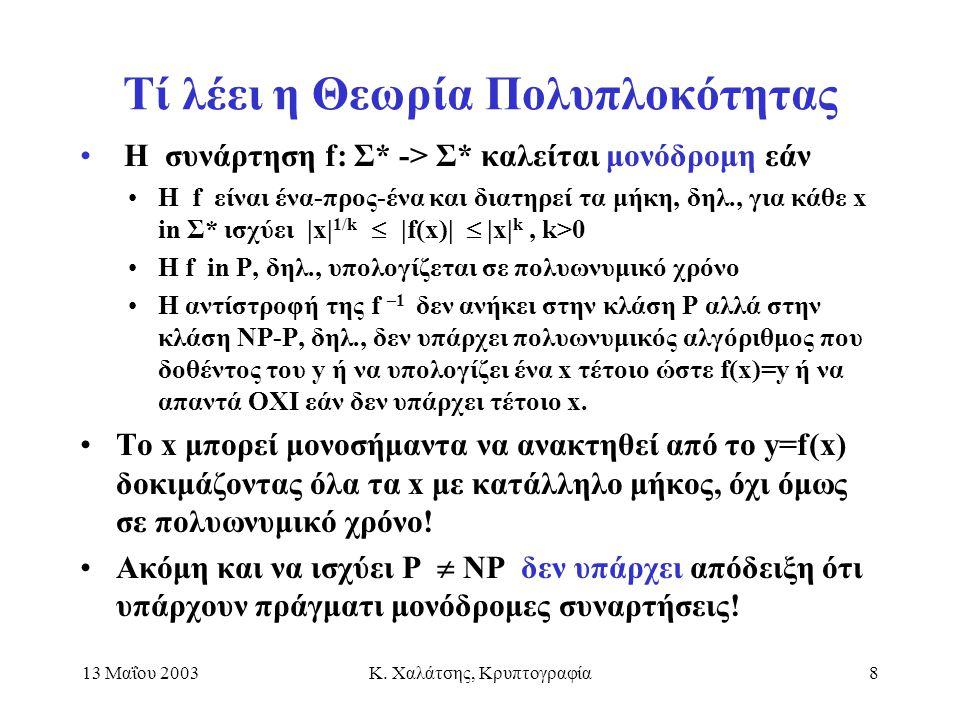 13 Μαΐου 2003Κ. Χαλάτσης, Κρυπτογραφία8 Τί λέει η Θεωρία Πολυπλοκότητας Η συνάρτηση f: Σ* -> Σ* καλείται μονόδρομη εάν Η f είναι ένα-προς-ένα και διατ