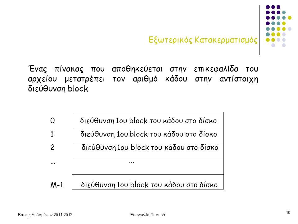 Βάσεις Δεδομένων 2011-2012Ευαγγελία Πιτουρά 10 Εξωτερικός Κατακερματισμός Ένας πίνακας που αποθηκεύεται στην επικεφαλίδα του αρχείου μετατρέπει τον αρ