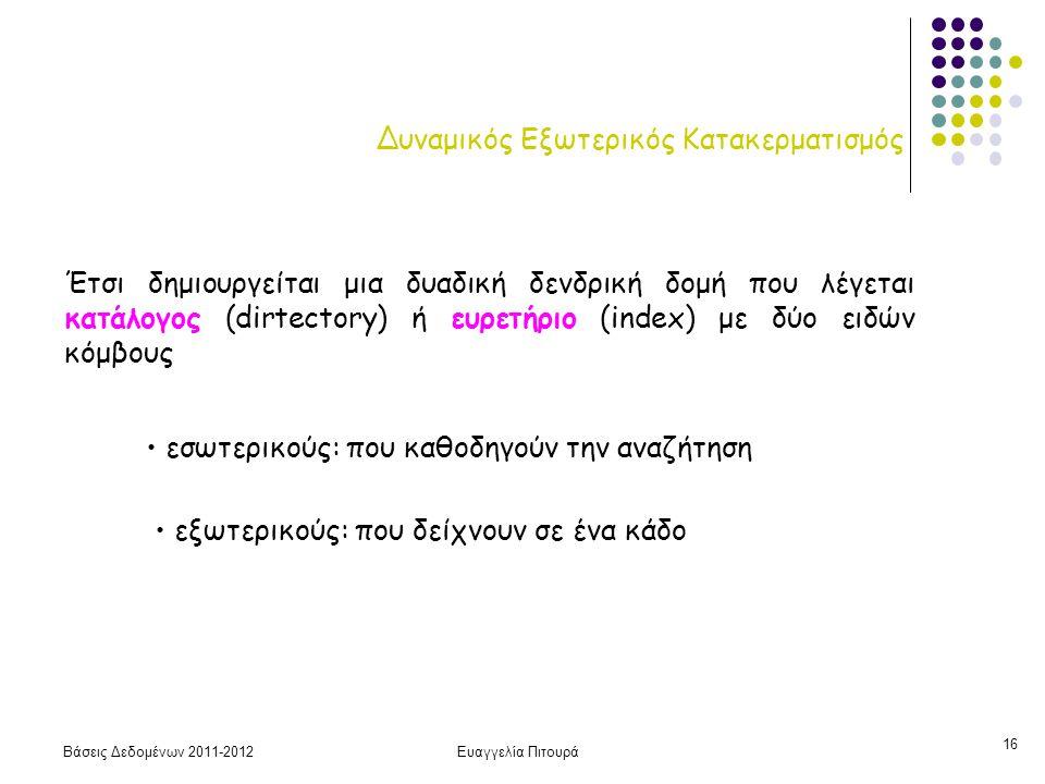 Βάσεις Δεδομένων 2011-2012Ευαγγελία Πιτουρά 16 Δυναμικός Εξωτερικός Κατακερματισμός Έτσι δημιουργείται μια δυαδική δενδρική δομή που λέγεται κατάλογος
