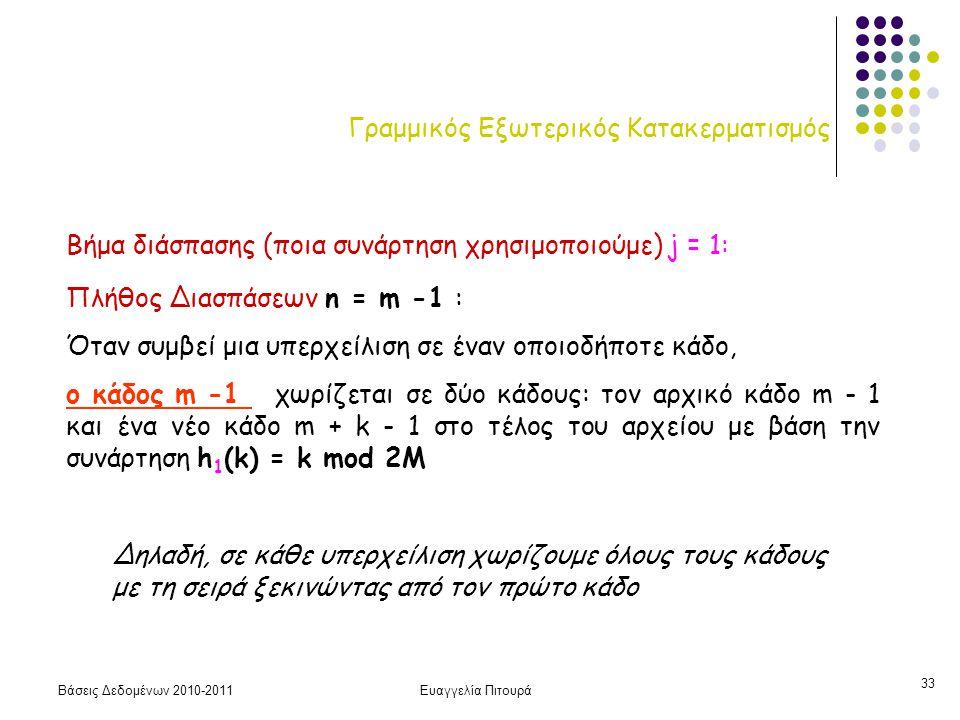 Βάσεις Δεδομένων 2010-2011Ευαγγελία Πιτουρά 33 Γραμμικός Εξωτερικός Κατακερματισμός Πλήθος Διασπάσεων n = m -1 : Όταν συμβεί μια υπερχείλιση σε έναν ο