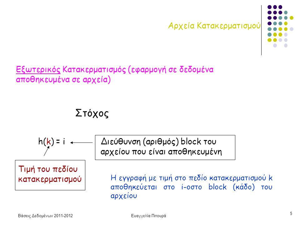 Βάσεις Δεδομένων 2011-2012Ευαγγελία Πιτουρά 6 Κατακερματισμός h: συνάρτηση κατακερματισμού Συνηθισμένη συνάρτηση κατακερματισμού: h(k) = k mod M Ομοιόμορφη κατανομή των κλειδιών στους κάδους (blocks) Συχνά M πρώτος