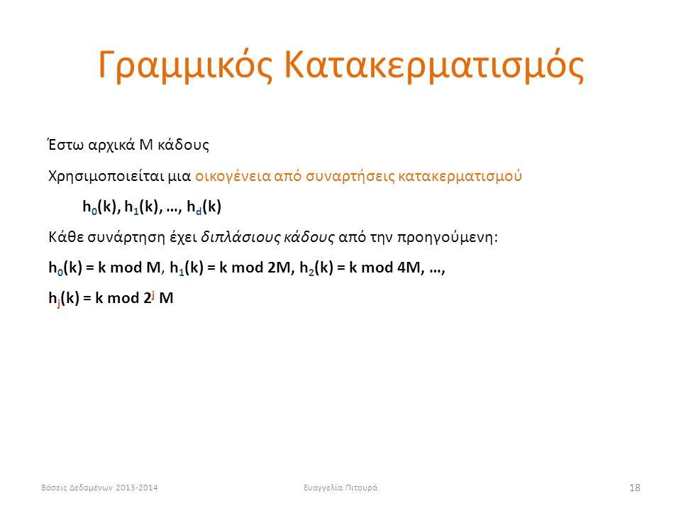 Βάσεις Δεδομένων 2013-2014Ευαγγελία Πιτουρά 18 Έστω αρχικά Μ κάδους Χρησιμοποιείται μια οικογένεια από συναρτήσεις κατακερματισμού h 0 (k), h 1 (k), …, h d (k) Κάθε συνάρτηση έχει διπλάσιους κάδους από την προηγούμενη: h 0 (k) = k mod M, h 1 (k) = k mod 2M, h 2 (k) = k mod 4M, …, h j (k) = k mod 2 j M Γραμμικός Κατακερματισμός