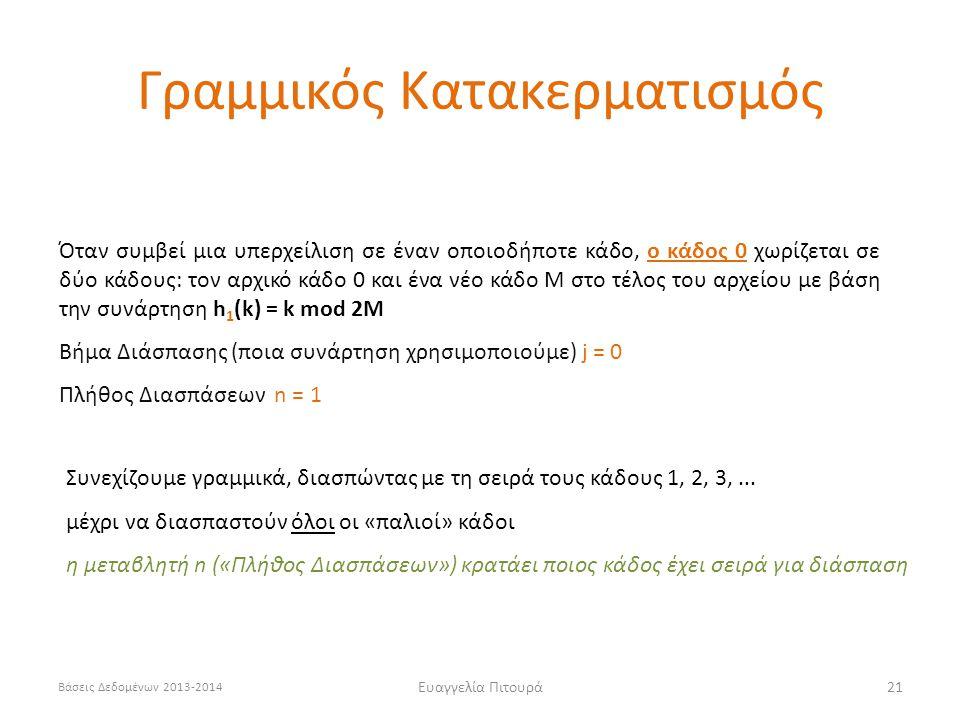 Βάσεις Δεδομένων 2013-2014 Ευαγγελία Πιτουρά21 Όταν συμβεί μια υπερχείλιση σε έναν οποιοδήποτε κάδο, ο κάδος 0 χωρίζεται σε δύο κάδους: τον αρχικό κάδο 0 και ένα νέο κάδο Μ στο τέλος του αρχείου με βάση την συνάρτηση h 1 (k) = k mod 2M Βήμα Διάσπασης (ποια συνάρτηση χρησιμοποιούμε) j = 0 Πλήθος Διασπάσεων n = 1 Συνεχίζουμε γραμμικά, διασπώντας με τη σειρά τους κάδους 1, 2, 3,...