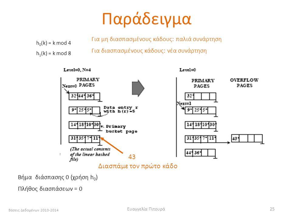 Βάσεις Δεδομένων 2013-2014 Ευαγγελία Πιτουρά25 Βήμα διάσπασης 0 (χρήση h 0 ) Πλήθος διασπάσεων = 0 43 Διασπάμε τον πρώτο κάδο h 0 (k) = k mod 4 h 1 (k) = k mod 8 Για μη διασπασμένους κάδους: παλιά συνάρτηση Για διασπασμένους κάδους: νέα συνάρτηση Παράδειγμα