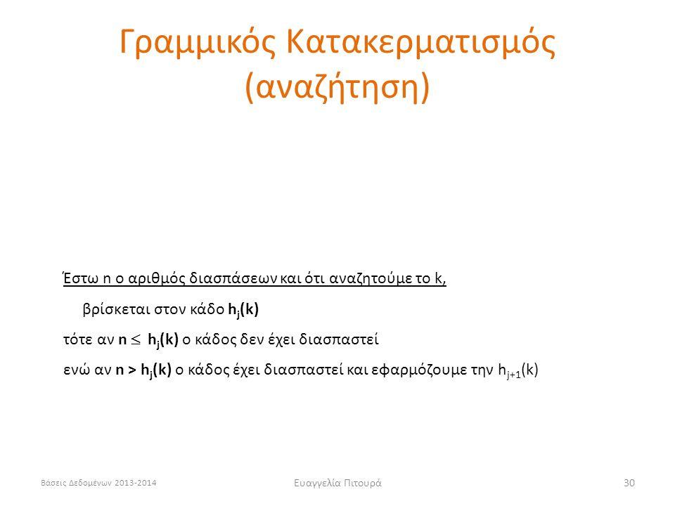 Βάσεις Δεδομένων 2013-2014 Ευαγγελία Πιτουρά30 Έστω n ο αριθμός διασπάσεων και ότι αναζητούμε το k, βρίσκεται στον κάδο h j (k) τότε αν n  h j (k) o κάδος δεν έχει διασπαστεί ενώ αν n > h j (k) o κάδος έχει διασπαστεί και εφαρμόζουμε την h j+1 (k) Γραμμικός Κατακερματισμός (αναζήτηση)
